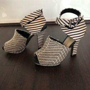 ISABEL TOLEDO striped heeled sandal - size 6.5